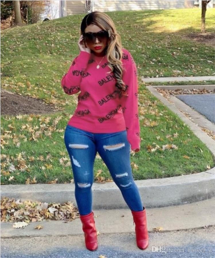 женщины толстовки кофты футболка новые горячие женские топы мода Письмо печати топы Женские топы осень зима толстовки женская одежда klw3008
