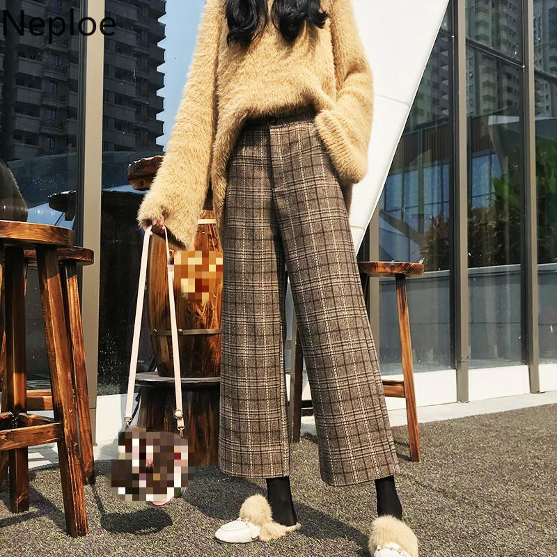 Neploe Plaid Pants Women Autumn Winter Vintage Elegant Wide Leg Trousers Student High Waist Slim Straight Pantalones 2019 46639 V191111