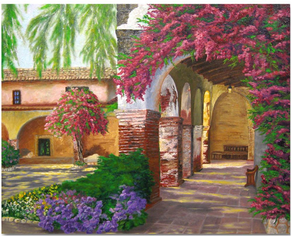 Масляная краска комплекты краски DIY картины Чисел взрослых Ручная роспись-романтический сад 16 «x20»
