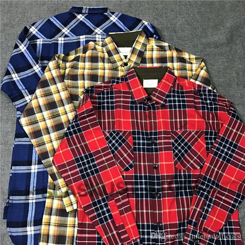 Camicie Uomo Casual versione alta di flanella a quadri a manica lunga Button Up Shirt fessura del lato curvo Hem di trasporto