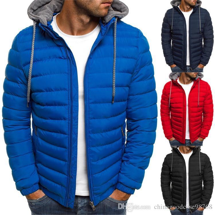 Erkek Moda Sonbahar Kış Hoodes Coats Parka Pamuk Sıcak Kalın ceketler Erkek Dış Giyim Ceket Casual Giyim Mens Zip