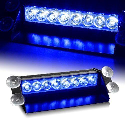 Azul del coche policía del estroboscópico Luz de advertencia de emergencia 8 LED luz intermitente de la lámpara del lechón en el parabrisas