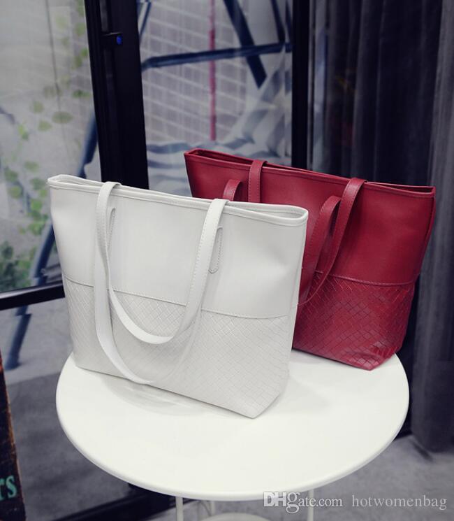 Farbe Neue Herbsttasche Taschen Koreanische Tasche Lässige Schulter Großhandel Handtasche Mode 2019 Gewebt Damen Pure Damen SGJMI