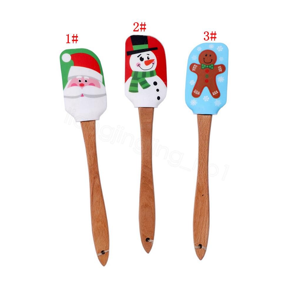 عيد الميلاد كعكة أداة البسط مكشطة سيليكون كريم زبدة خلط أدوات الخليط مكشطة فرشاة زبدة خلاط الكيك فرش الخبز مطبخ FFA326