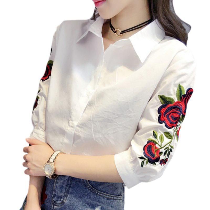 Горячая 2019 Женская Цветочная Вышивка Блузка С Длинным Рукавом Мода Повседневная Рубашка Женщины Camisas Femininas