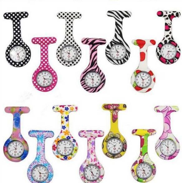 Enfermeira relógios doutor fob de quartzo relógio de silicone relógio médico relógio broche relógios coloridos camuflagem imprime relógios de pino túnica d77