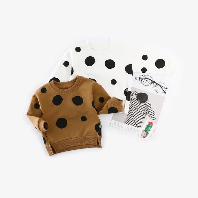 Padrão Meninos Bebê camisola da criança Crianças Boy Polka Dot com capuz Tops Hoodie Bebés Meninas Brasão Casacos capuz Casual T200306 Atacado