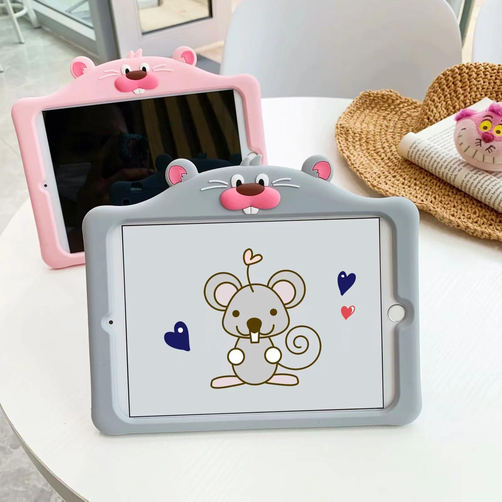 3D Cartoon Mouse Silicon Stand Kids Case For Apple Ipad2 Pro 11 2020 Mini 5 2019 9.7 10.5 Smart Cover Case