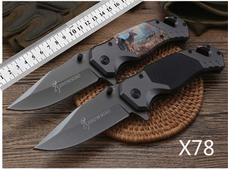 """Browning X78 faca dobrável 7.8 """"punho de aço Camping EDC Pocket Knife faca da sobrevivência ao ar livre Ferramentas de Corte"""