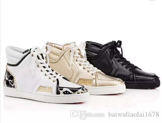 Дизайнерская обувь Марка шипованная шипы Обувь на плоской подошве с красной подошвой Мужская женская вечеринка для любителей Натуральная кожа Кроссовки размер 36-46