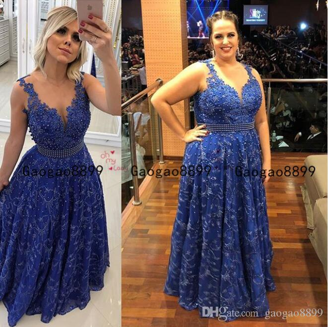 2020 royal blue lace beaded Evening Formal Dresses Aso Ebi Styles sexy v neck pearls sash Glamorous African long prom Gowns