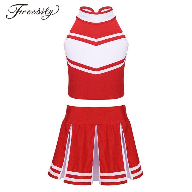 Kind-Mädchen-Cheerleader-Tanz-Kostüm Ärmel mit Reißverschluss Tops mit Faltenrock Sets für Schule Stage Performance Cosplay Partei