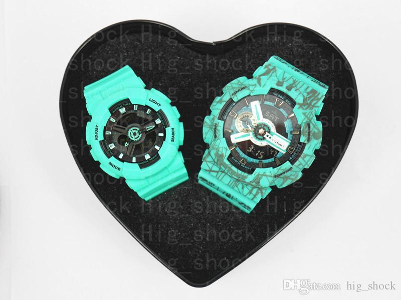 HOT العلامة التجارية الجديدة زوجين ووتش هدية الطفل أعلى جودة جميع وظائف مقاومة للماء ووتش الرياضة G مع مربع القلب للحبيب للأسرة
