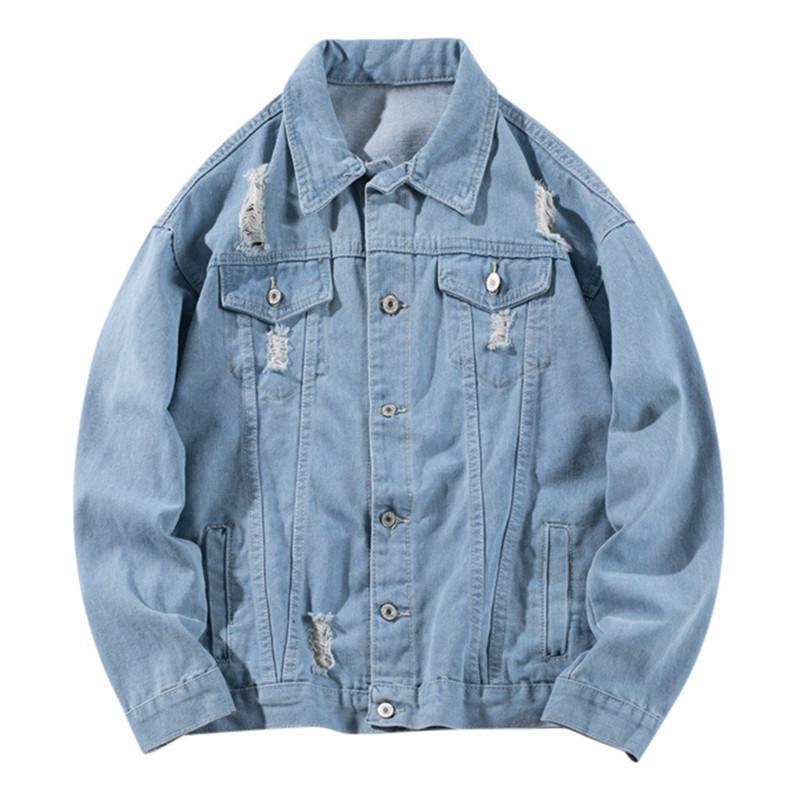 Herren-Jacken Herbst-Winter-beiläufige Vintage-Waschung Distressed Denim-Mantel-Spitzenbluse Herren Jacke Wintermantel Outwear Mode