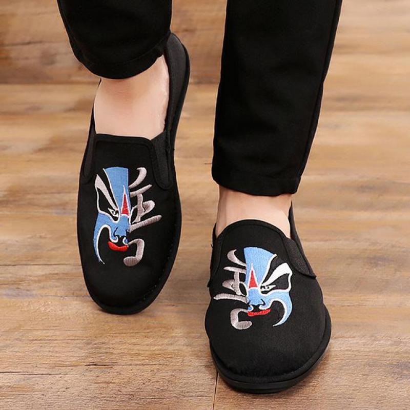 Espadrillas Uomini Canvas fannulloni cinese dell'Opera di Pechino ricamato vecchia Pechino panno scarpe scivolare su traspirante, scarpe casual nero