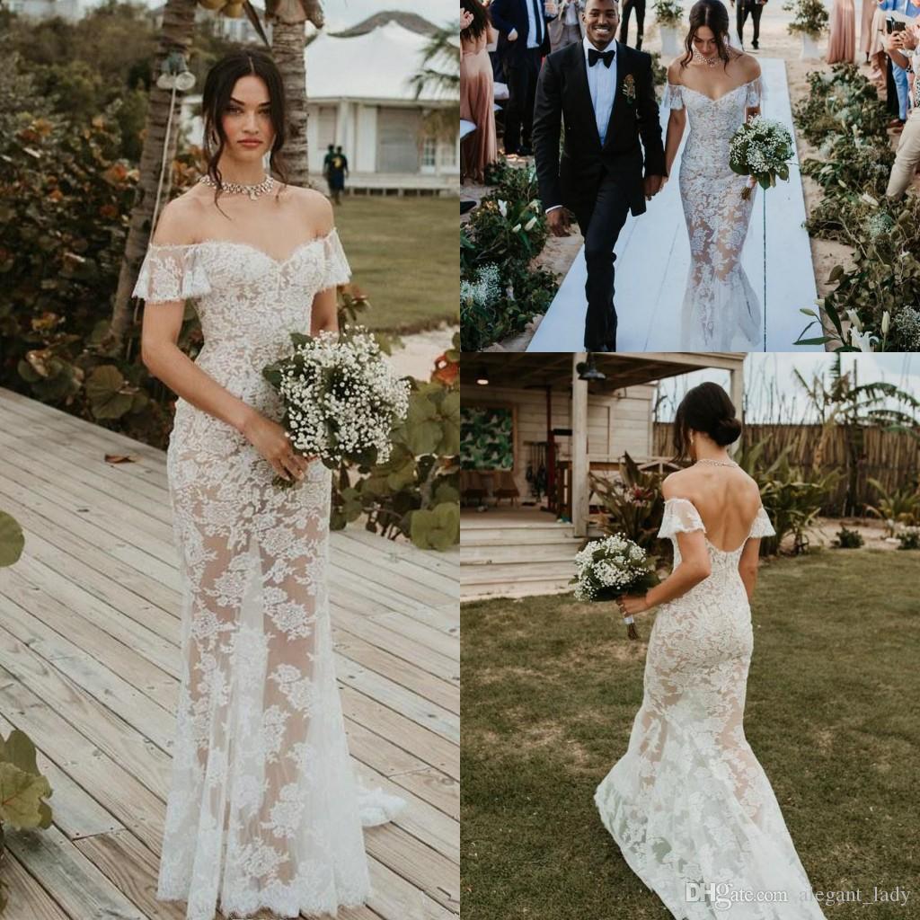 Seksi Illusion Denizkızı Gelinlik 2018 Tam Dantel Kapalı Omuz Backless Yaz Plaj Bohemian Ülke Gelin Düğün Ucuz
