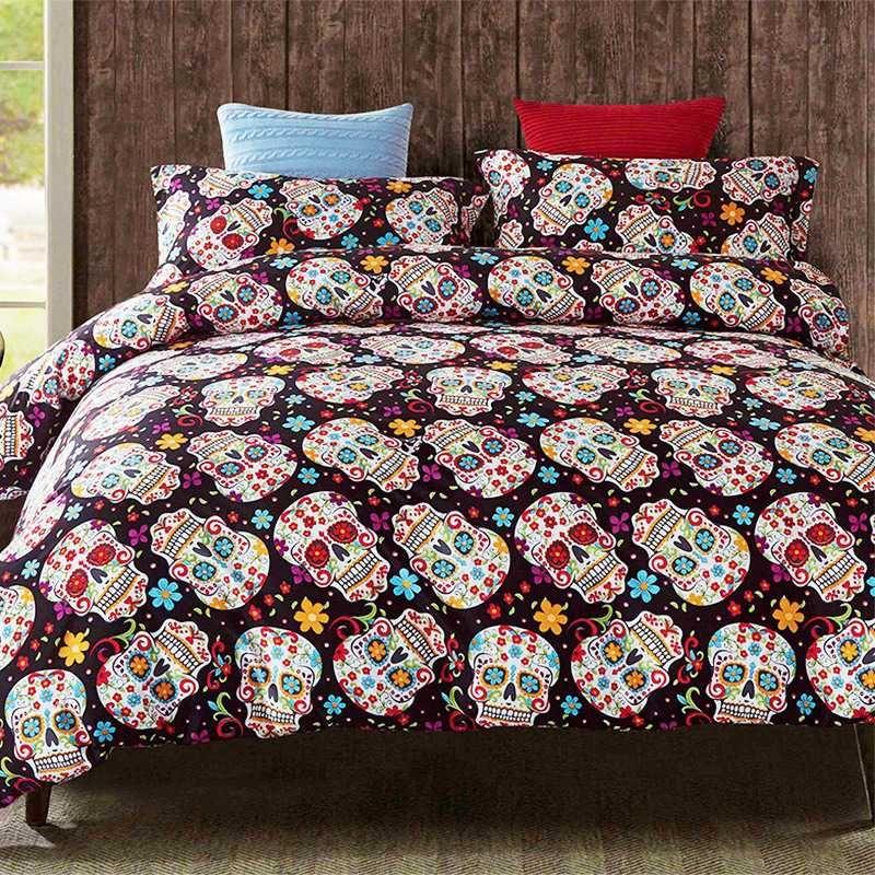Sugar Skull Bedding Set Skulls Floral Printed Quilt Duvet Cover Pillowcases Single Queen King Size Bedlinen Dropshipping