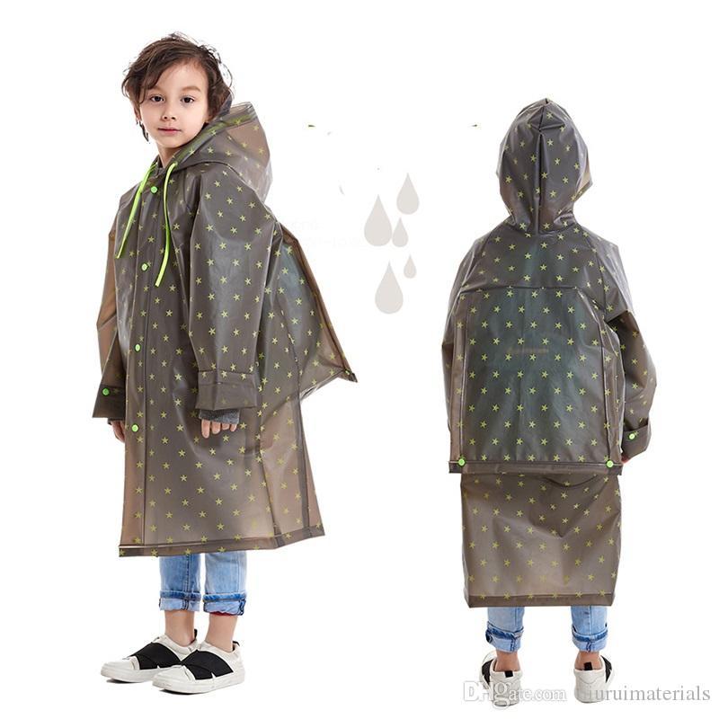 Plastic Children Raincoat Outdoors Hooded rain jacket Kindergarten Boys Kids Impermeable Poncho Schoolbag rainwear Rain Coat for Children