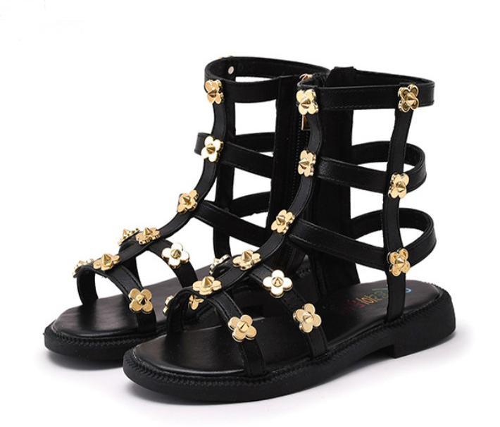 الاطفال مصمم الأزياء والأحذية طفل فتاة أحذية الصيف المصارع الصنادل الزهور برشام قطع الأميرة الروماني الصنادل الصنادل الجانبية زيبر الاطفال