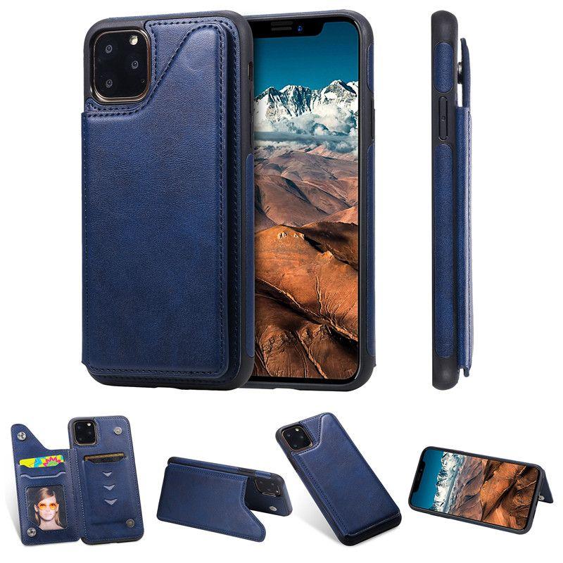 color puro de la PU billetera de cuero caso del iPhone para 11 11 Pro Ranura para tarjeta a prueba de golpes pata de cabra de teléfono para el iPhone 11 Pro Max