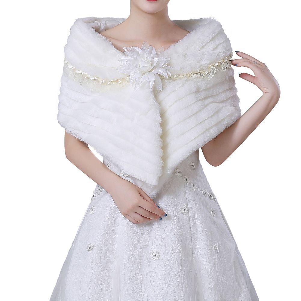 Blanco Falsa piel de conejo capelet con la luz blanca de la flor de la piel de imitación de lujo del mantón de la estola del abrigo del encogimiento de hombros para el invierno