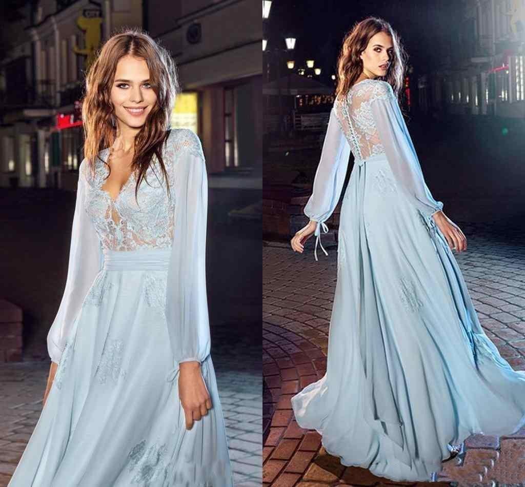 2020 Elegant Prom klär en linje Långärmad Snörning Chiffon V-nacke med knappar tillbaka (homecoming klänningar