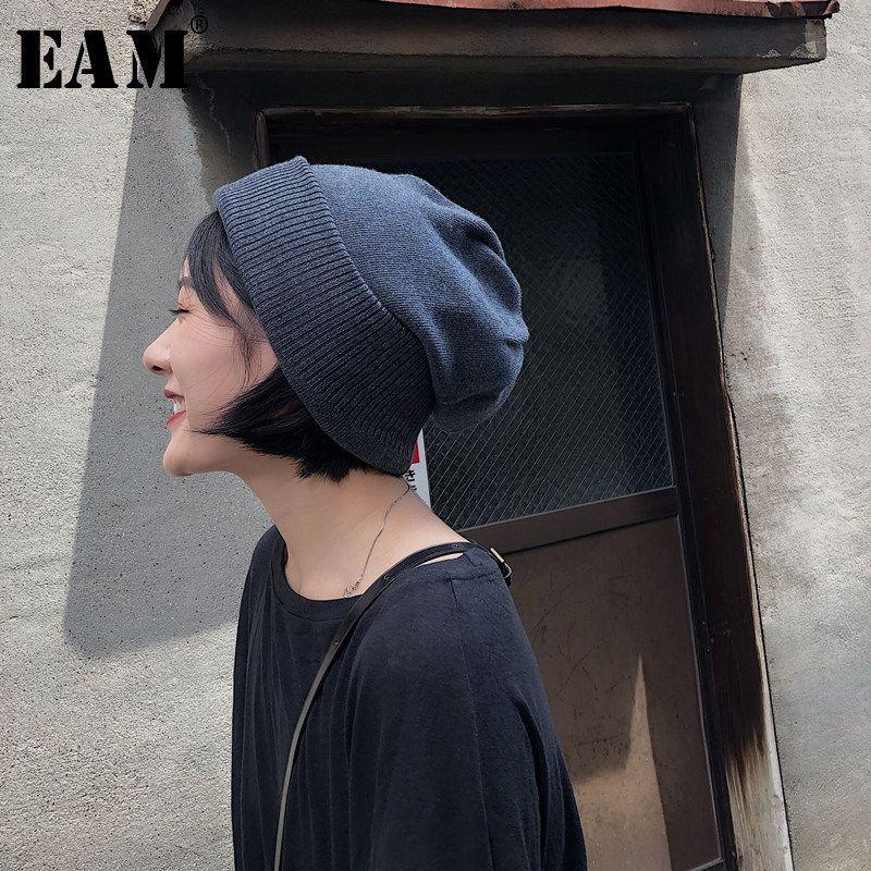 [EAM] 2019 Yeni Bahar Yaz Sıcak Vintage Yumuşak Koreli Kalın Esneklik Unisex Yetişkin Örgü Şapka Kadınlar Moda OB457 T191022 tutun