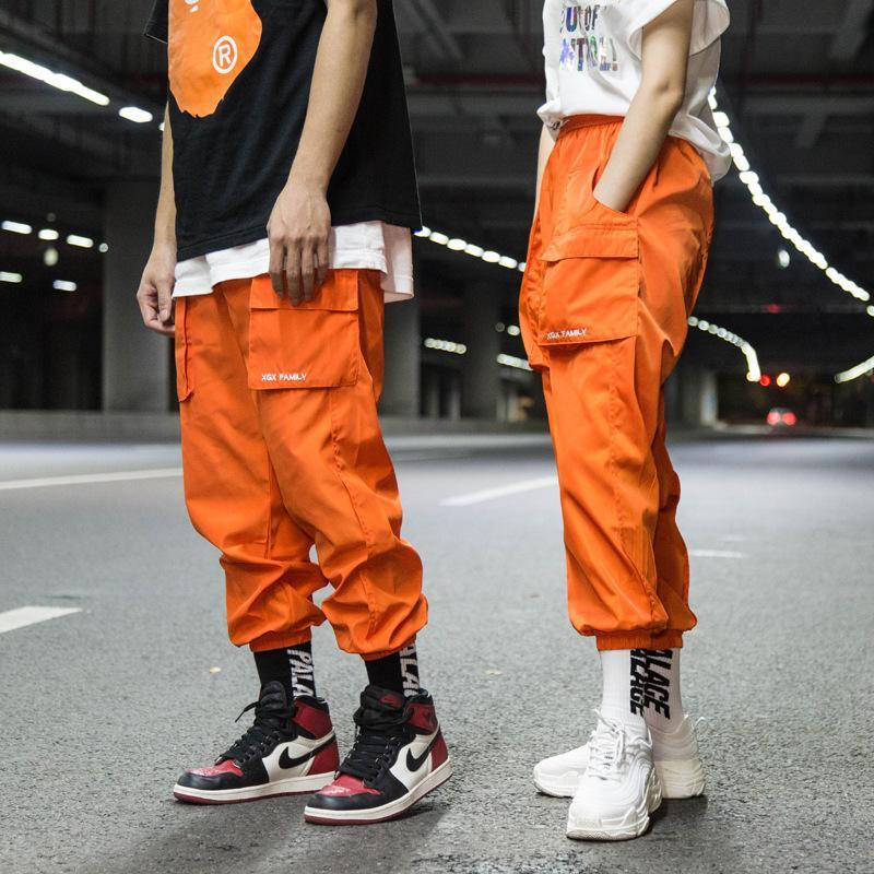 Street baggy pants men and women hip hop pants harlan breeches nine-cent straight leg breeches plain color pocket edges trousers