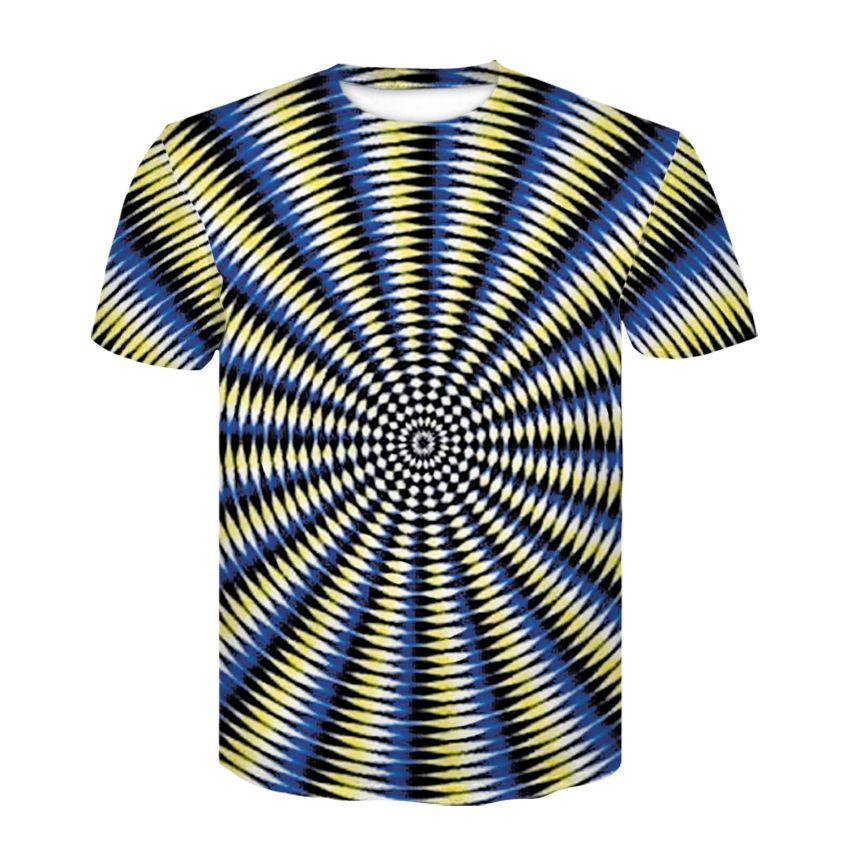 3D en blanco y negro túnel comprobado la manga de la camiseta corta, muchacho de verano de hip hop tendencia impresión divertida personalidad camiseta