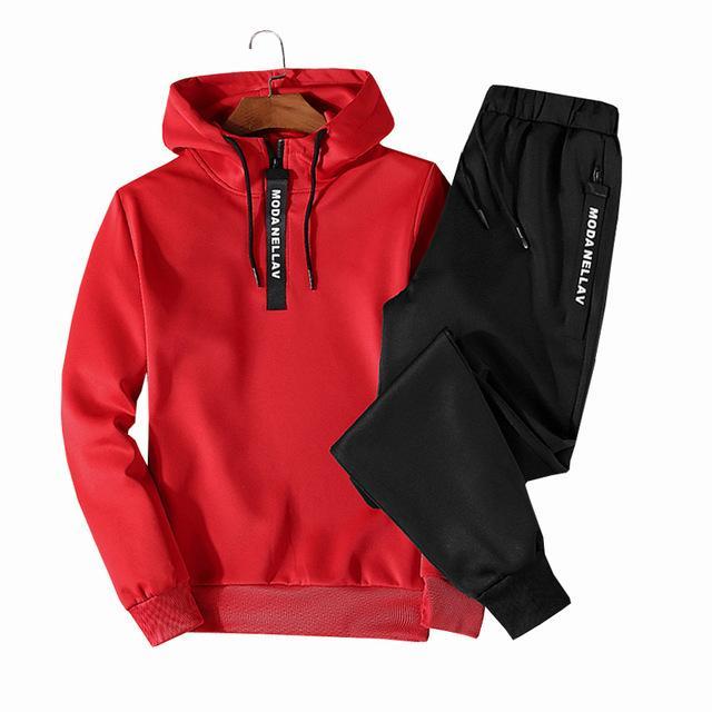 Patchwork Erkekler Spor Sonbahar Kış Kapşonlu Kalın Erkek Casual Eşofman Erkekler 2 Adet Kazak + Sweatpants Setleri