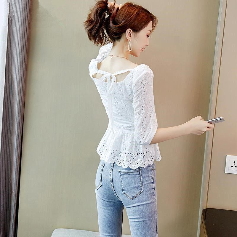 Las mujeres del otoño del resorte del bordado de gasa blusas mujeres ocasionales media manga de las camisas blancas ahueca hacia fuera Bluses encaje Tops DF3302