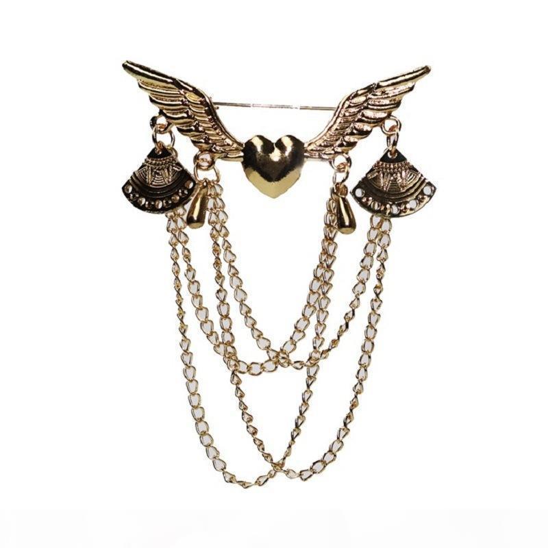 2020 spilla di design d'amore Ali Spilla con gioielli nappa retrò gioielli accessori di abbigliamento set di pulsanti pin collare a catena multi-layer