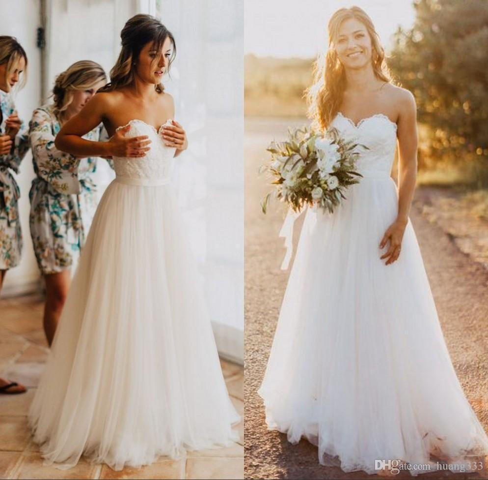 2019 New Sweetheart Lace A line Simple Cheap Bridal Gowns Country Wedding Dress Elegant Tulle Beach Wedding Dresses