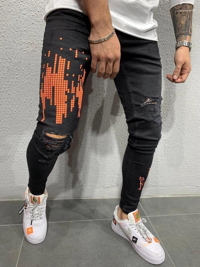 Printemps Saison Tout Allumette trous déchiré Zipper Crayon Pantalon Pantalones noir Mens Designer Jeans