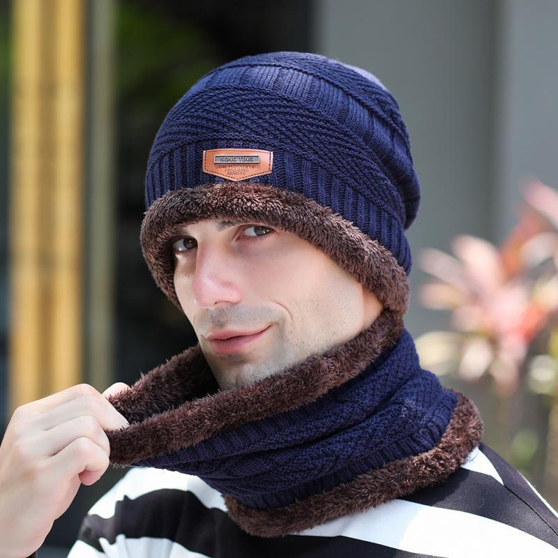 2pcs hommes Cap écharpe d'hiver chaud Bonnet avec écharpe Set pour skullies Beanies unisexe Outdoor Sport Set Bonnet écharpe