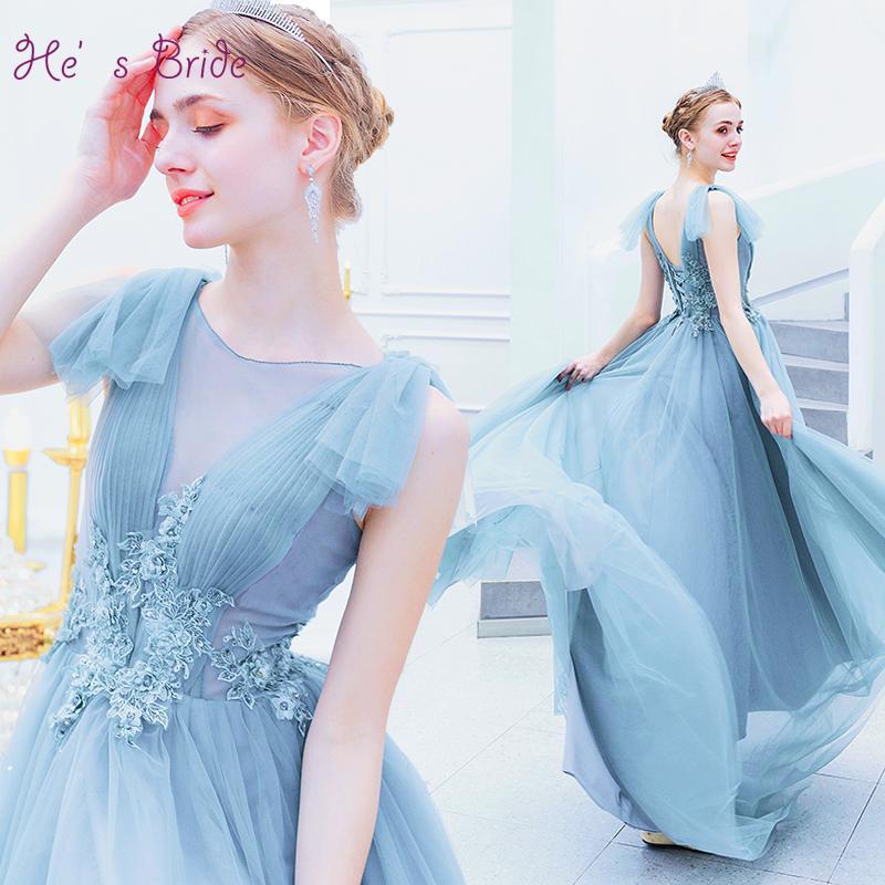 O Gelin Kolsuz Lace Up Geri Kat Uzunluk Mavi Uzun Abiye Örgün Elbiseler Akşam elbise Özel Durum Elbise