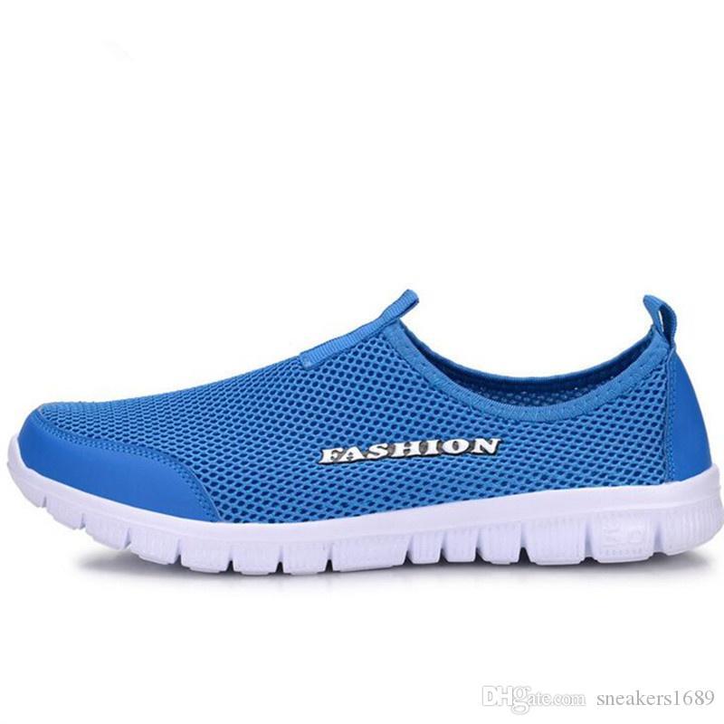 Breathable Ineinander greifen-Mann-beiläufige Schuhe Beleg-Auf neuem 2018 Art und Weisesommerunisex beschuht weiche Fußbekleidung für Mann plus Größe 35-46 X166