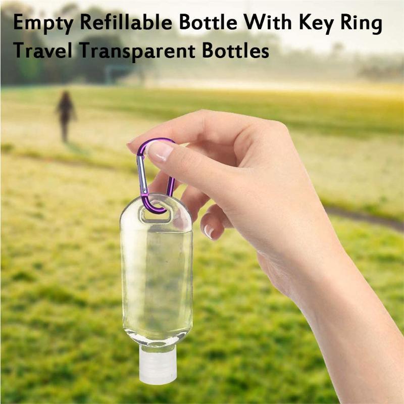 Путешествия Пластиковые бутылки Очистить Keychain непротекаемый Пустые контейнеры Флип крышки 10pc