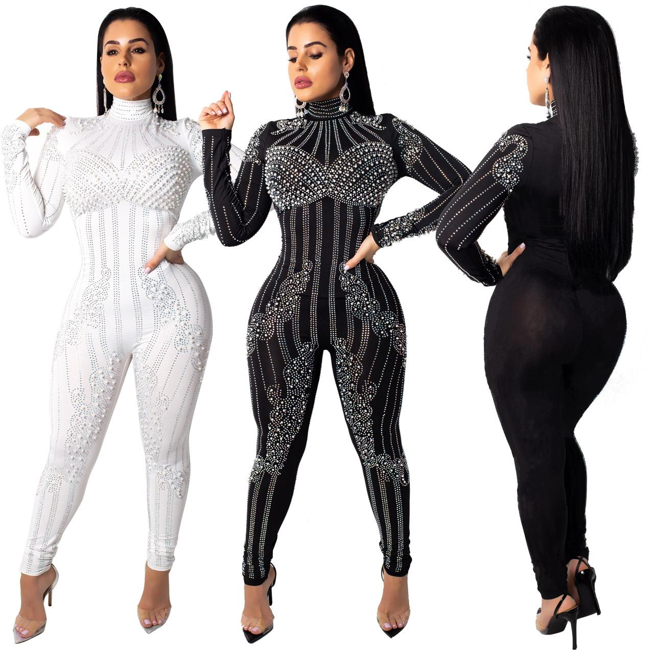 Black White Pearls Diamonds Mesh Jumpsuit Turtleneck Long Sleeve Women Romper Bar Night Club Performance Party Overalls Playsuits