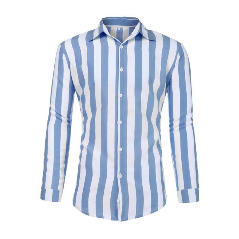 Erkek Casual Gömlek Erkekler Nefes Mükemmel Pamuk Çizgili Turn-down Yaka Uzun Kollu İnce Giyim Tek Göğüslü