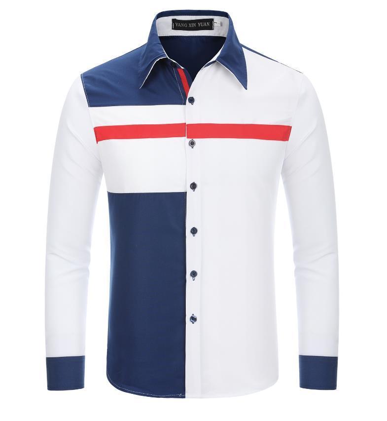 رجال القمصان ثلاثة ألوان تصاميم تصاميم طويلة كم تصميم Patchwork رفض طوق قميص رجل صدر واحد شحن مجاني