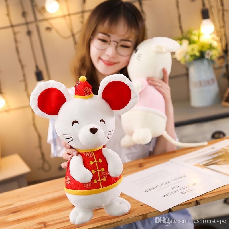Vestido Mascot Plush brinquedos Bichos de pelúcia do rato brinquedos macios Chinese New Year Party Kawaii DHL Rat Ano presente Decoração de Natal brinquedo de criança