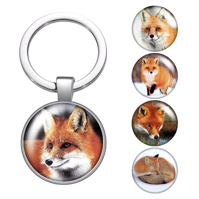 Fox Hayvan Sevimli Clever Cam Cabochon Anahtarlık Çanta Araba Anahtarlık Halka Tutucu Charms Gümüş Anahtarlık İçin Erkekler Kadınlar Hediyeleri