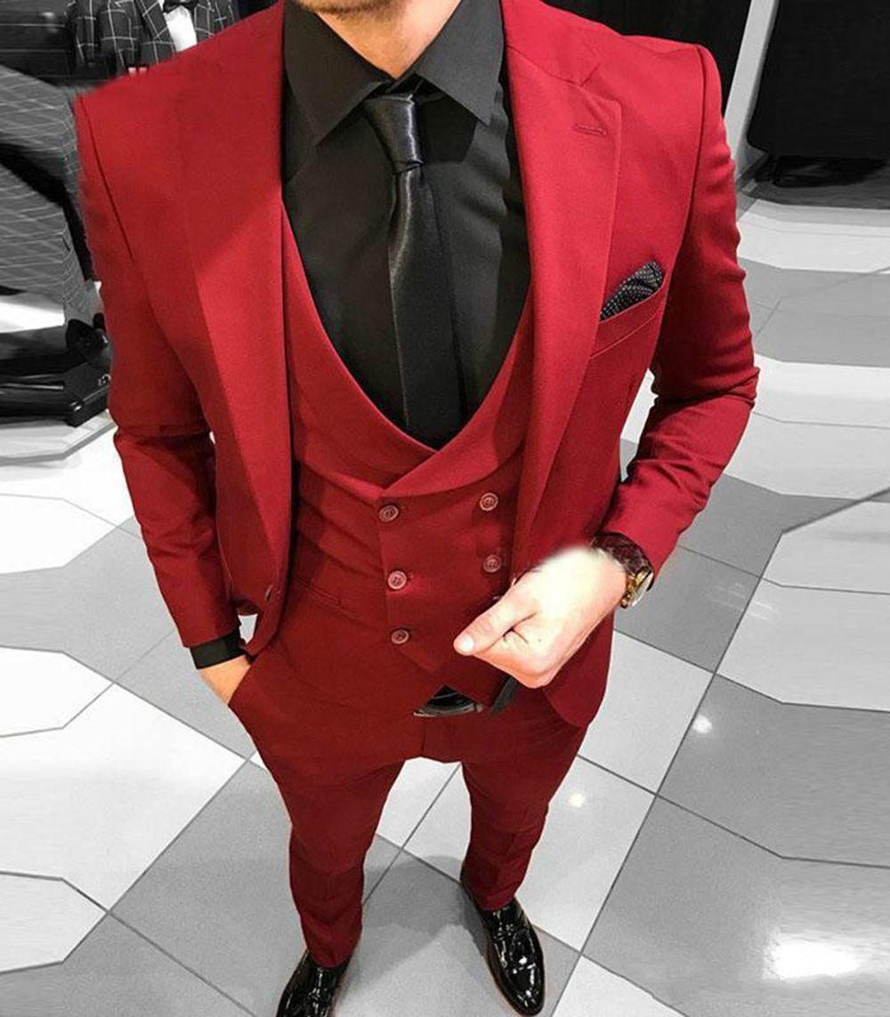 Hommes rouges formels Costumes Slim Fit Un bouton Nouveau mode marié costume costumes de mariage pour le meilleur hommes était Lapel smokings marié (veste + pantalon + veste)