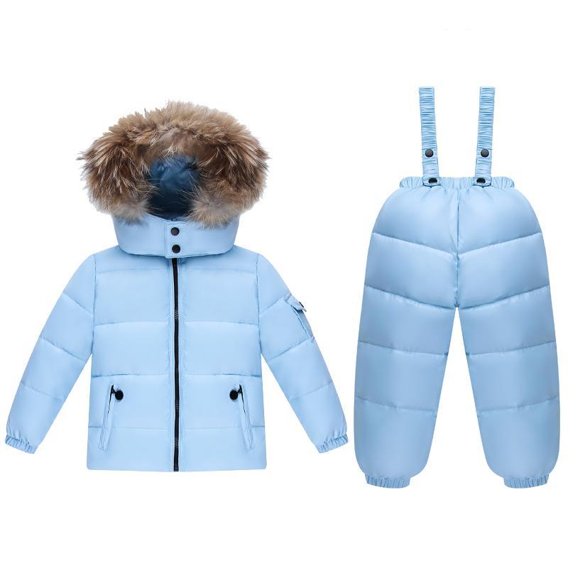 Nuovo 2019 Russia inverno capispalla cappotti per le giacche invernali scherza i vestiti dei bambini + pantaloni che coprono gli insiemi snowsuits caldi