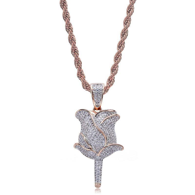 Colores de oro de plata collar de la mujer para hombre colgante de collar de Rose CZ completo con cadena de la cuerda de 24 pulgadas para los hombres regalos Hot