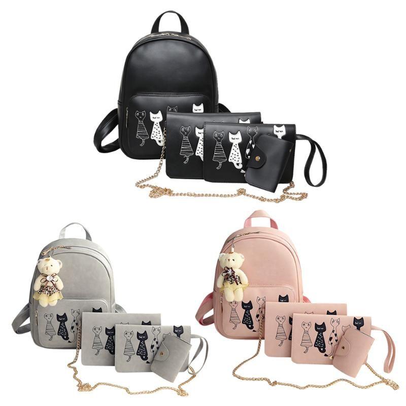4pcs Cat Printed Girls PU Leather Backpack Shoulder Bag Clutch Purse High Quality Bolsas Fashion Messenger Cross Body Bag