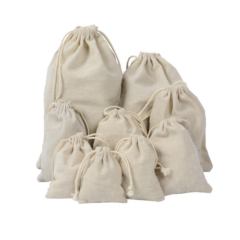 50 Pezzi di cotone con coulisse Borse Muslin Bag Bustina Borsa Borsa regalo Sacchetti Gioielli per i favori festa di nozze, del mestiere di DIY, Regali di Natale,
