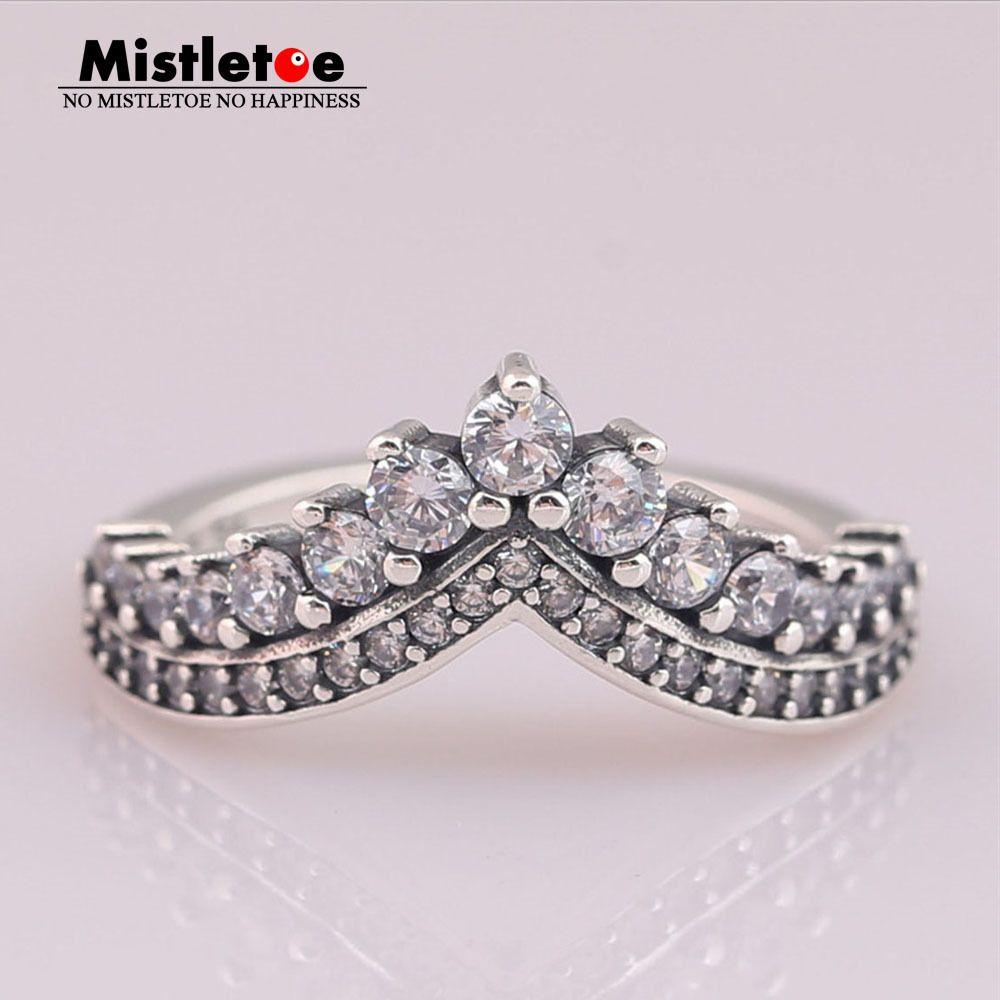 Омела 100% Стерлингового Серебра 925 Кольцо Принцесса Желание, Ясно Cz Европейские Ювелирные Изделия J190716