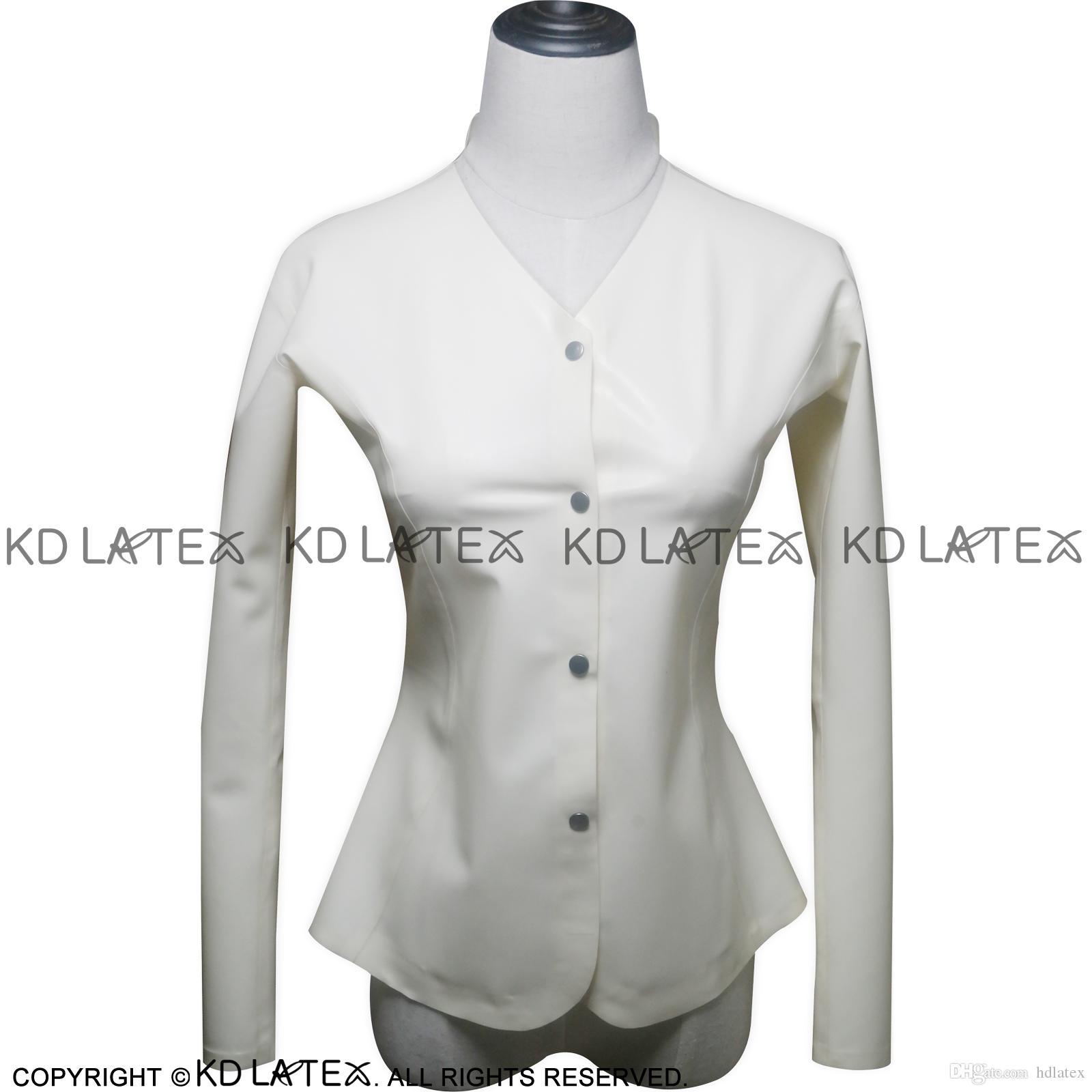 White Sexy Latex Shirt Buttons At Front Fetish Rubber Blouse Plus Size Female Hotsales Long Sleeves YF-0002